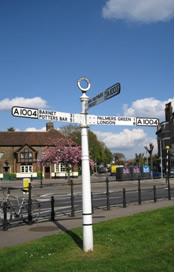 Pre-restoration signpost